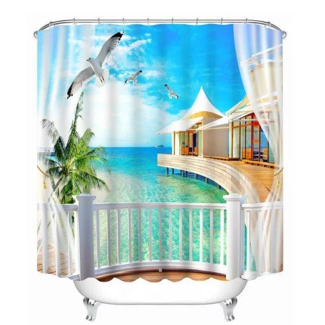 Rideau de douche paysage de la mer magnifique 3D effect imperméable 180 x 200 cm