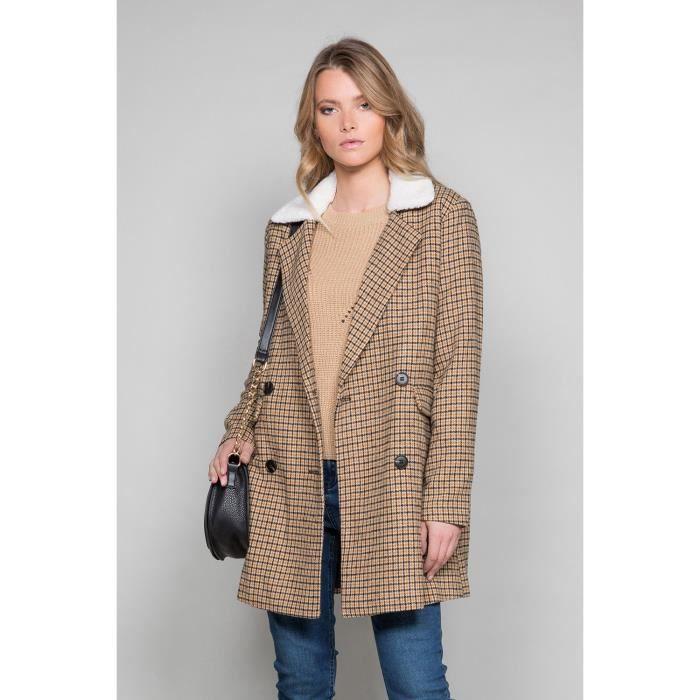 Manteau à carreaux et col sherpa PAULETTE - Couleur - Check, Taille - L