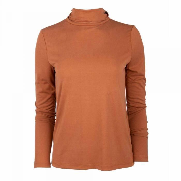 T-shirt ml col roule 17106019 Femme PIECES