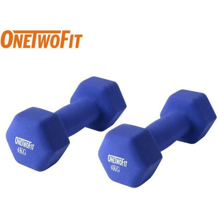 OneTwoFit Set de 2 haltères fitness 8 kg (2 x 4 kg) Bleu OT114