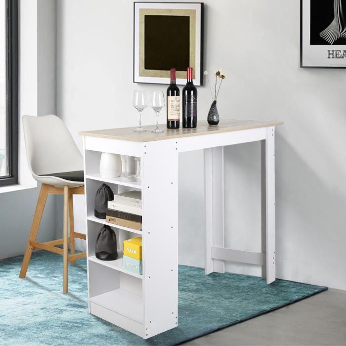 Table Haute de Bar Mange-debout Cuisine avec rangements – Décor chêne et blanc - 115x50x103CM