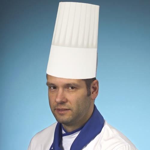 Couvre-chef cuisinier, en papier 23 cm blanc -B…