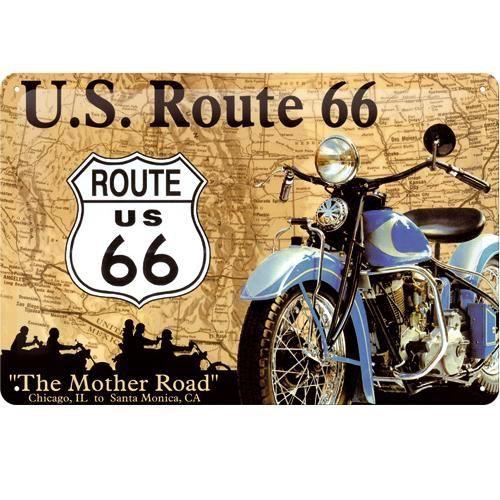 Plaque métal Route 66 Moto