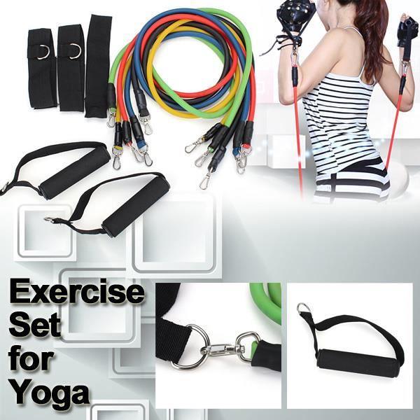 11pcs Corde bande élastique gymnase de résistance musculation yoga exercice fitness