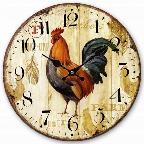 [Coq-2]Horloge murale décorative murale en bois de 14 po d'époque-31