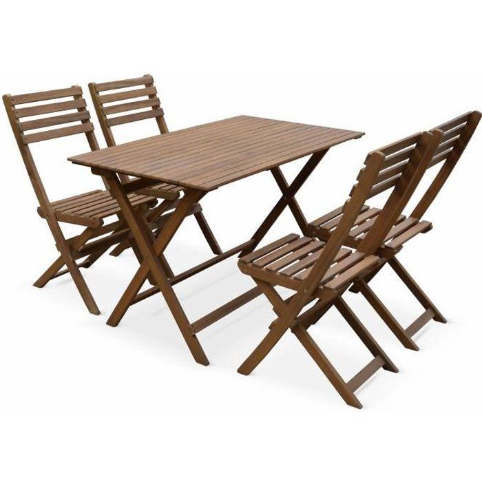 Table de jardin en bois 120x70cm - Madrid - Table bistrot ...