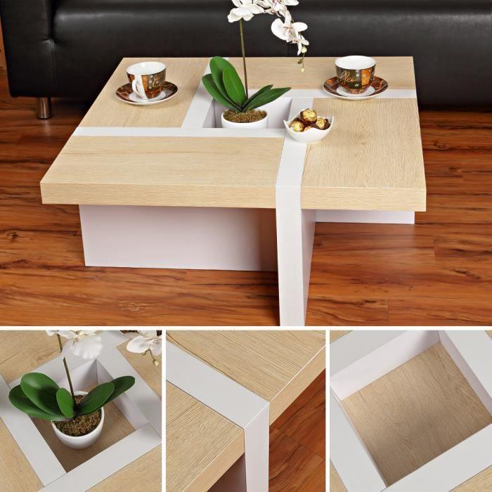 Table basse table de salon marron / blanc - Achat / Vente ...