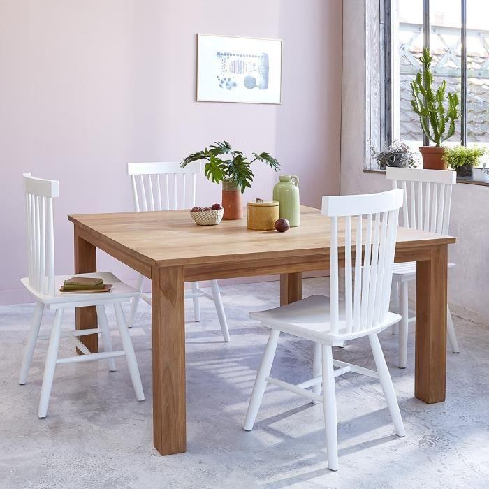 Table carrée en TECK BRUT QUALITE GRADE A - Achat / Vente ...