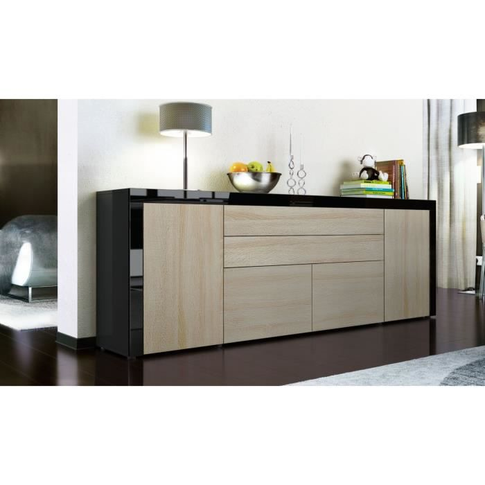 buffet enfilade noir et bois brut 200 cm achat vente buffet bahut buffet enfilade cdiscount. Black Bedroom Furniture Sets. Home Design Ideas