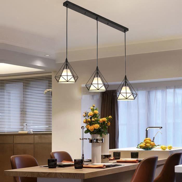 20cm Suspension Filaire en Barre Rétro Lustre Suspension Style Industrielle  Luminaire Salle à Manger Couloir