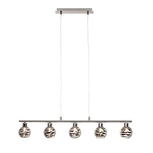 brilliant theron lampe suspension 5 ampoules hauteur ajustable 5 x g9 max 33 w m tal verre. Black Bedroom Furniture Sets. Home Design Ideas