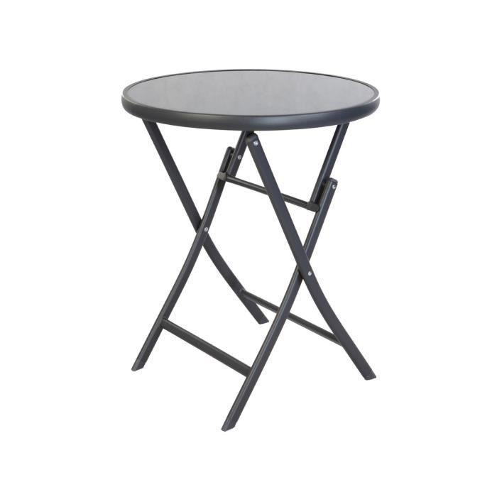 Pliant Table Bistrot Ronde Avec Plaque De Verre 70 cm, en métal cadre gris  foncé