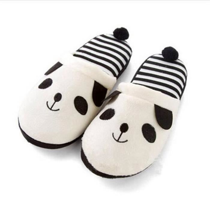 Pantoufles Cartoon Animaux Hiver Chaud Peluche Panda slippers BBDG-XZ037Blanc39
