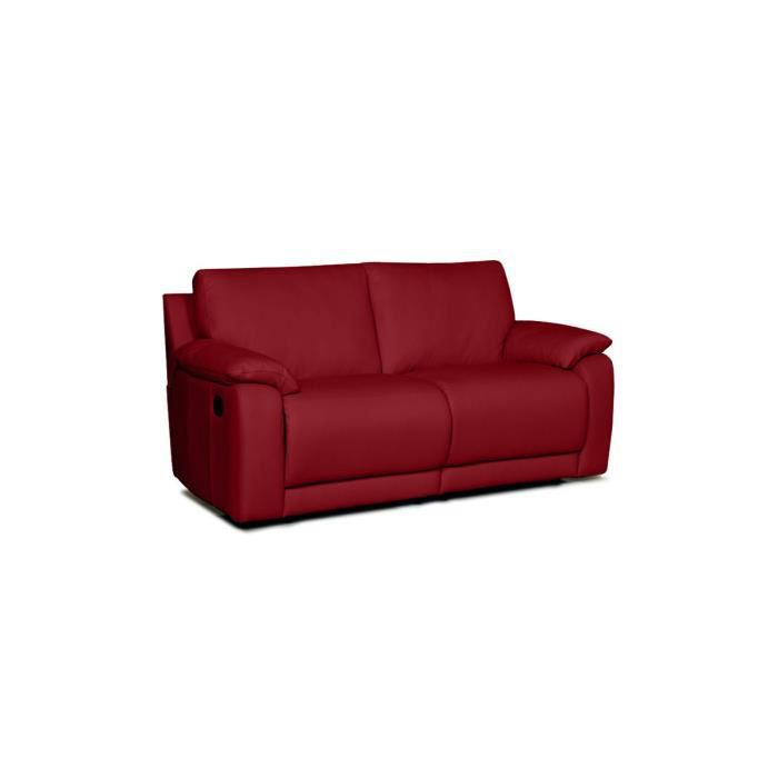 Canap relaxation en cuir 2 places rouge 2 plac achat for Canape rouge 2 places