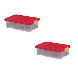 BAC DE RANGEMENT OUTILS Lot de 2 boîtes de rangement plastique, transparen