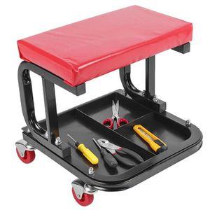 Tabouret pour atelier et garage mécanicien 4 roulettes avec platou d/'outils