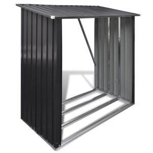 ABRI JARDIN - CHALET P186  Abri de stockage de bois Acier galvanise Gri