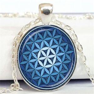 Livraison Gratuite Fleur De Vie Pendentif Bleu Clair Pendentif Spirituel Bijoux Mandala Collier Métaphysique Géométrie Sacrée