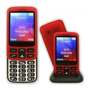 Téléphone portable Le ZIP ELEGANT 2G rouge, téléphone senior coulissa
