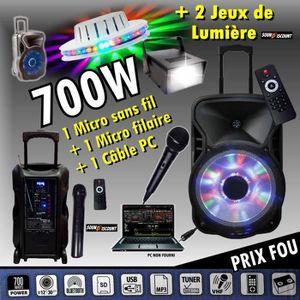PACK SONO KARAOKÉ ENCEINTE AMPLIFIÉE 700W PORTABLE + USB MP3