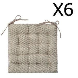 COUSSIN DE CHAISE  Lot de 6 Galettes de chaise lin à motifs - 38 x 38