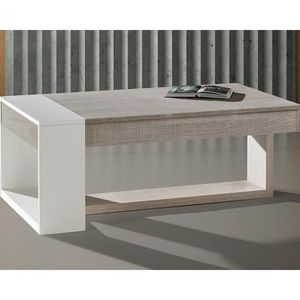 TABLE BASSE Table basse relevable Chêne clair-Blanc - ESTEBAN
