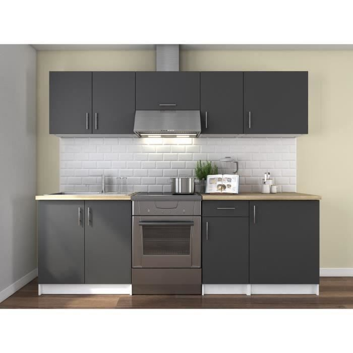 obi cuisine compl te l 2m40 gris mat achat vente cuisine compl te obi cuisine compl te 240. Black Bedroom Furniture Sets. Home Design Ideas