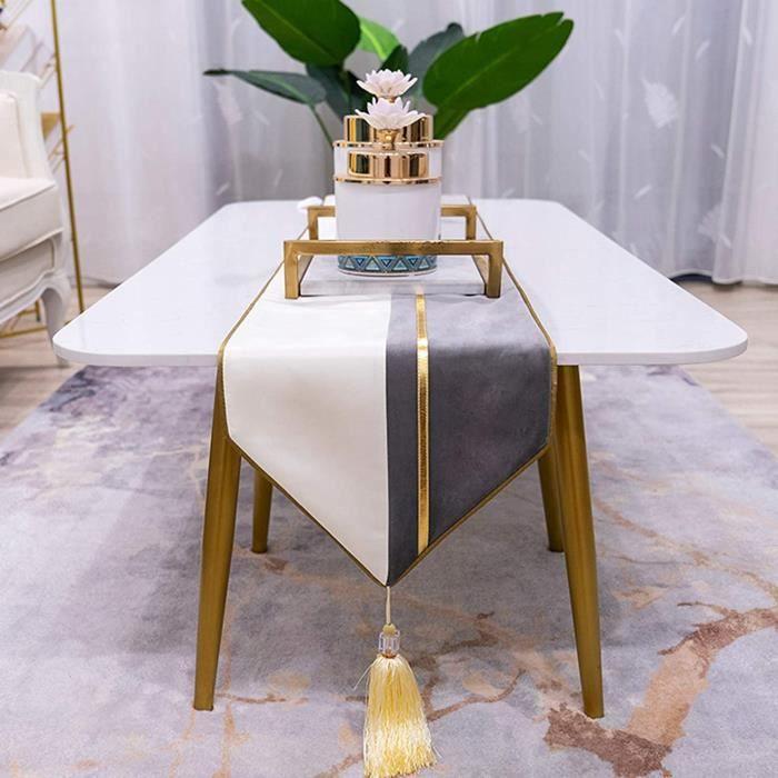 Chemin De Table en Tissu De Luxe Lger Nappe De Gland De Flanelle Grise Napperon De Table Manger Basse De Meuble TV Design De[3189]