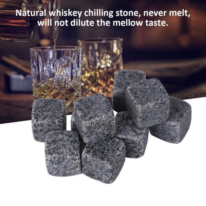 Cent Lot de 9 pierres de refroidissement naturelle pour le whisky avec jolie bo?te