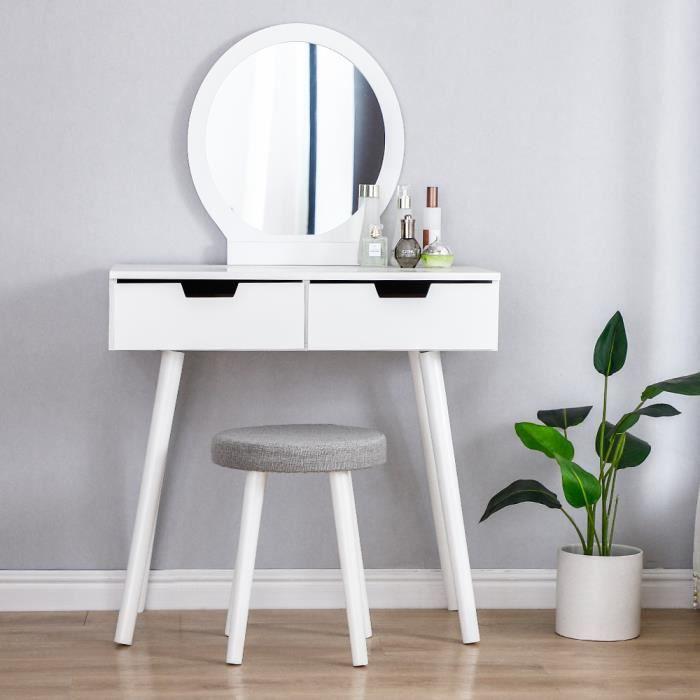 Coiffeuse Design Simple avec Miroir, 2 tiroirs, tabouret,Pieds en bois massif - 80 x 40 x 128 cm Blanc