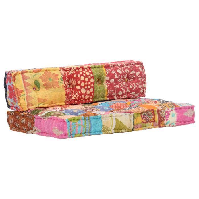 Nouveau Coussin de canapé palette Multicolore Tissu Patchwork