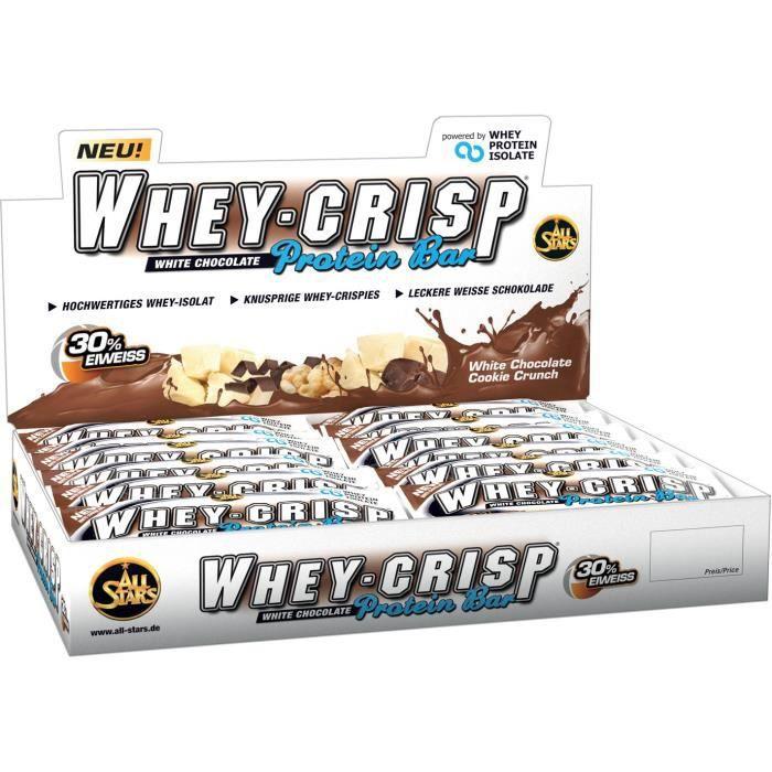 All Stars Whey Protein-Crisp Bar 24 x barres de 50g de chocolat blanc Cookie Crunch
