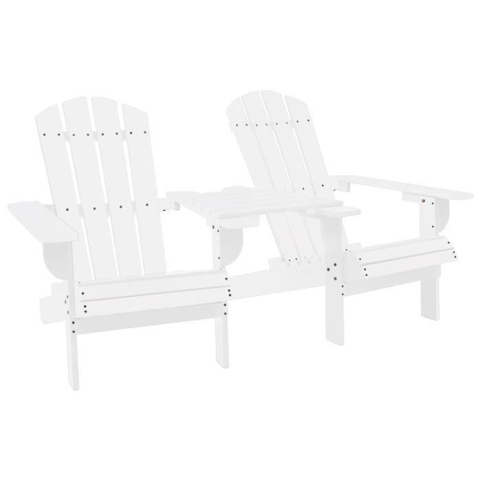Chaise de jardin Adirondack Bois de sapin massif Blanc -GAR