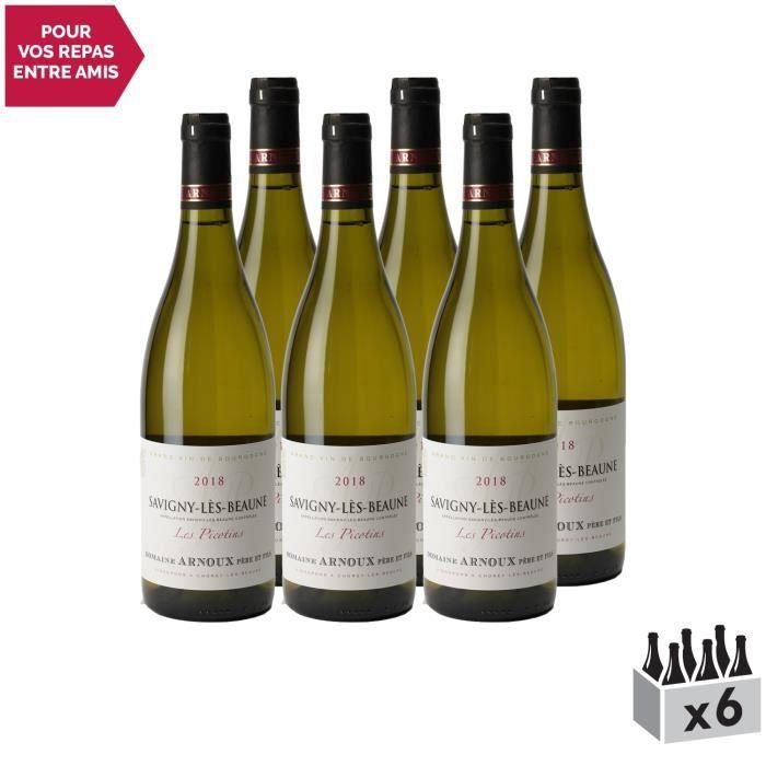 Savigny-lès-Beaune Les Picotins Blanc 2018 - Lot de 6x75cl - Domaine Arnoux Père et Fils - Vin AOC Blanc de Bourgogne - Cépage