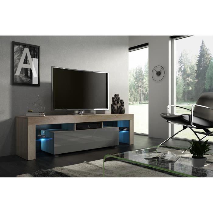 Meuble tv 160 aspect chêne et gris laqué + led RGB