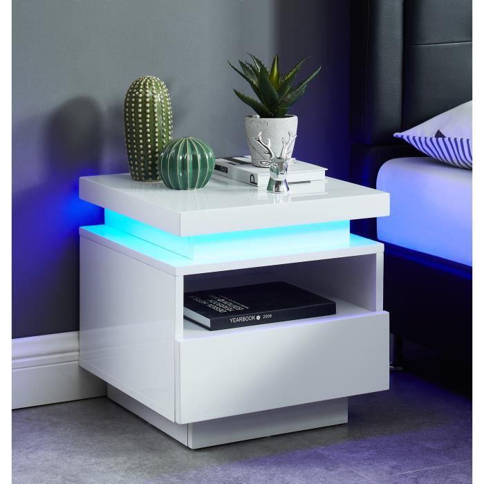 Table de chevet à LED COSMOS - laqué blanc brillant - L40cm