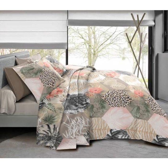 Pack complet Jungle Style Taupe housse de couette pour lit 160 x 200 cm 100% coton / 57 fils/cm²