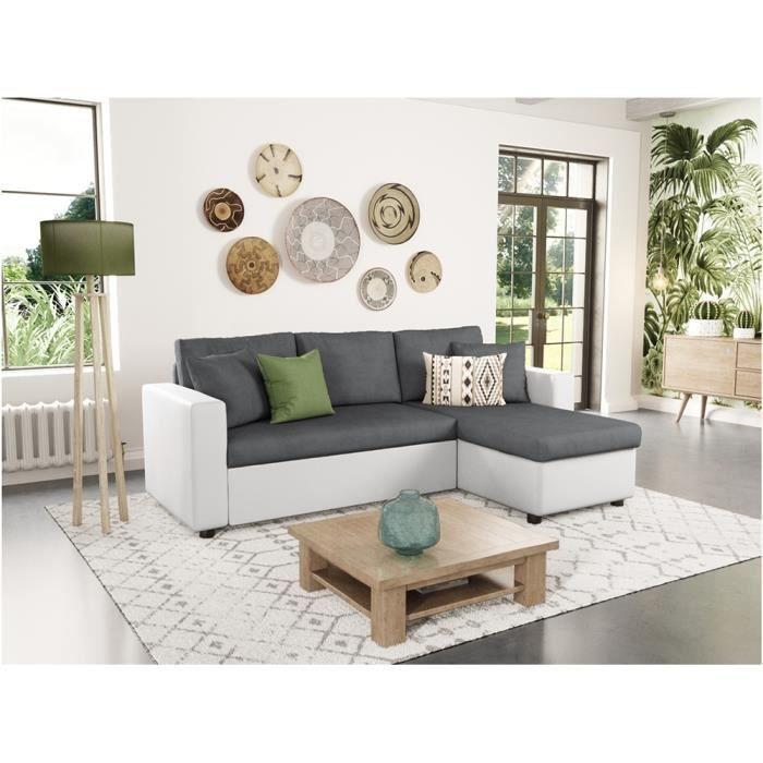 Canapé d'Angle Convertible et Réversible Maria Blanc / Gris avec coffre de rangement
