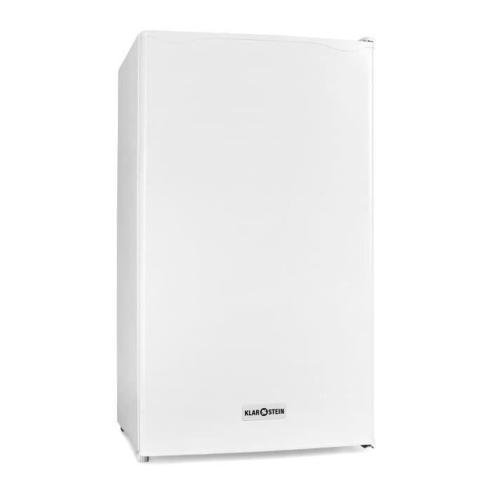 Klarstein 90L1-WH Réfrigérateur silencieux 90 litres + compartiment congélateur (grande capacité, bac à glacons , classe A+) - blanc
