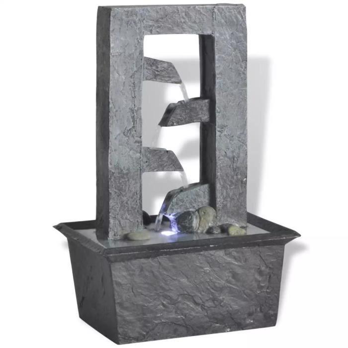 Fontaine d'intérieur Décoration Cascade Fontaine D'Eau avec lumière LED Poly-résine