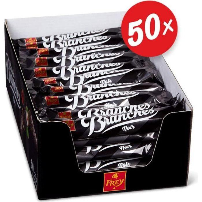 Branches Classic Barres de chocolat noir - Présentoir de 50 Snacks fourrées à la crème de noisettes - Fabriqué en Suisse - Lot de 50