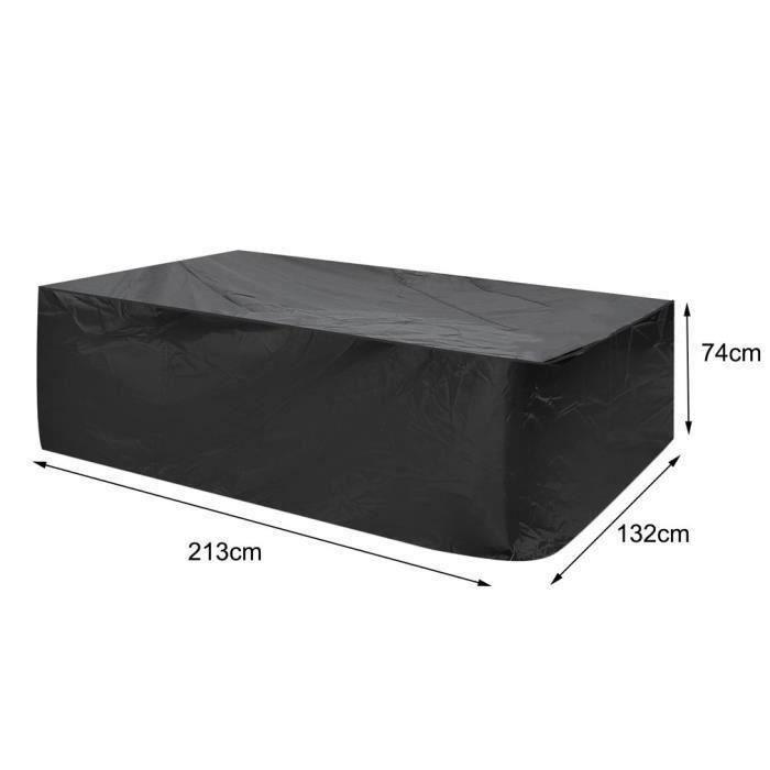 ME5474 Housse de protection table de jardin étanche Housse Meuble Bâche polyester 420D - 213*132*74cm