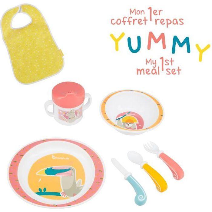 BADABULLE Coffret Repas Yummy Corail - Set Vaisselle 7 pièces & Bavoir Bébé Inclus