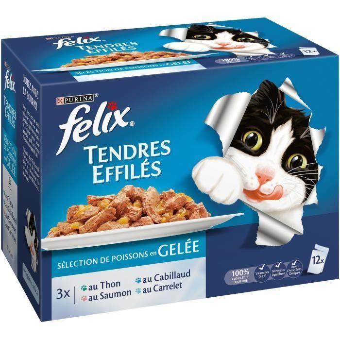 FELIX Tendres effilés en gelée - Poissons - Pour chat adulte - 12 x 100 g (Lot de 3)