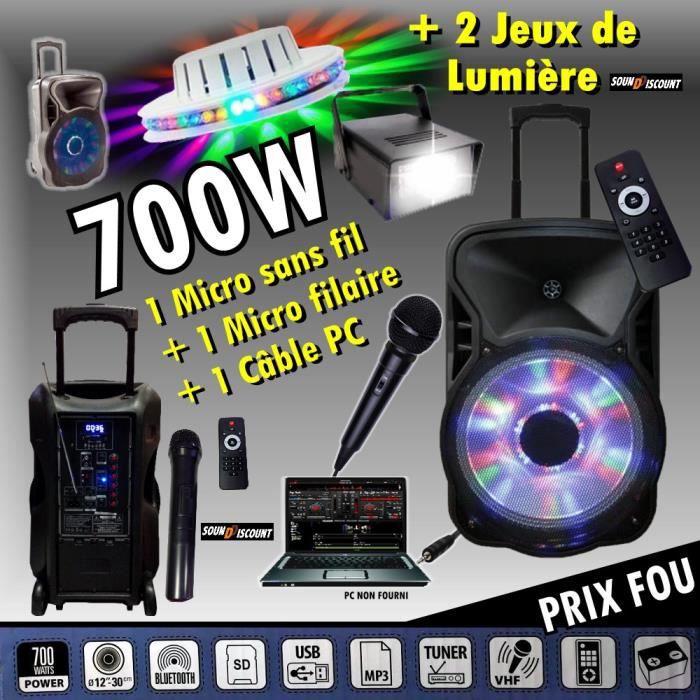 KARAOKÉ ENCEINTE AMPLIFIÉE 700W PORTABLE + USB MP3 + SD + BLUETOOTH + TUNER + 2 MICROS + 2 JEUX DE LUMIÈRE + CÂBLE PC PA DJ SONO