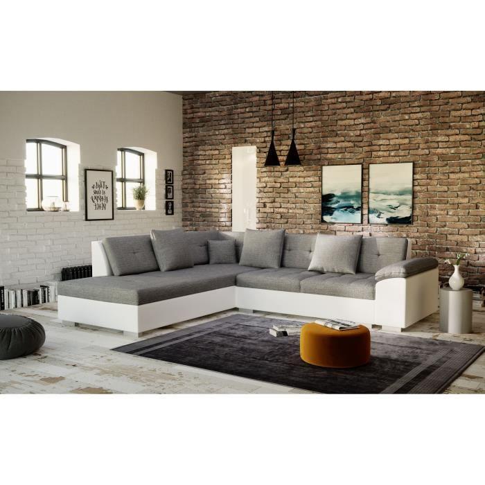 PORTOS - canapé d'angle - angle gauche - gris blanc