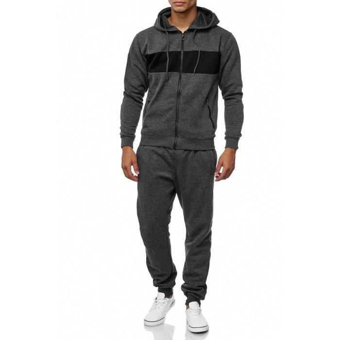 Survêtement homme survêtement gris Mottled Fitness Suit Sport Crazy Melange [XL, Gris foncé]