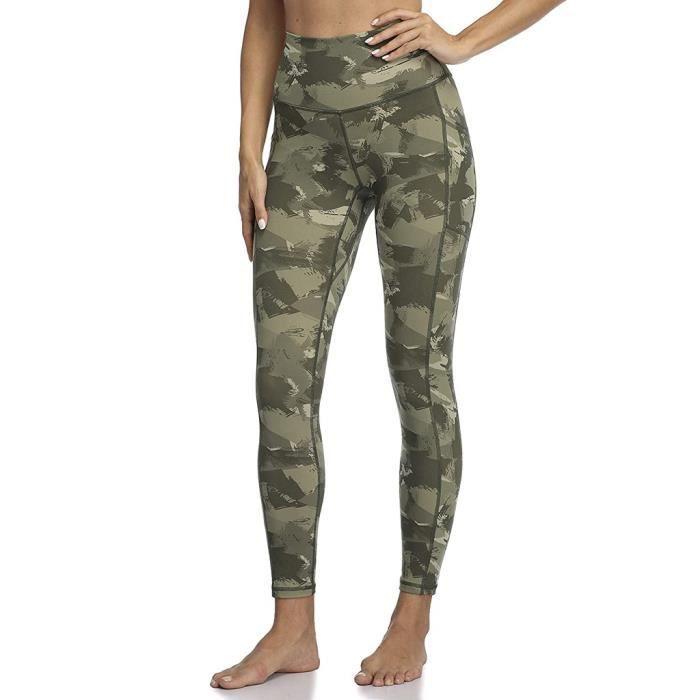 Pantalon de yoga taille haute sport pour femmes Leggings imprimés camouflage Vêtements de sport de poche Vert