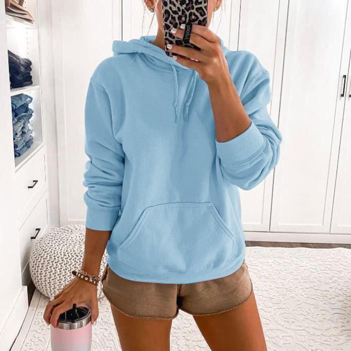 Mode femmes solide poche à capuche manches longues sweat décontracté chemisier hauts @YI4 Bleu clair XL