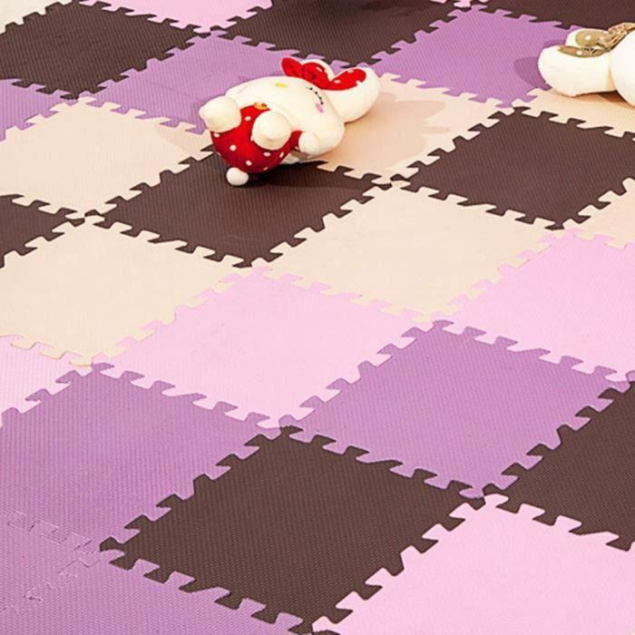20 pcs Dalle EVA mousse Tapis de sol Tapis GYM Tapis de chambre Tapis anti-choc protection bébé tapis - 30*30cm café+violet